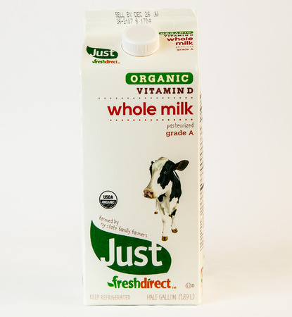 New York, December 17: A carton of whole milk from Fresh Direct.