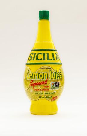 New York, January 30, 2017: A bottle of Sicilia lemon juice isolated on white background.