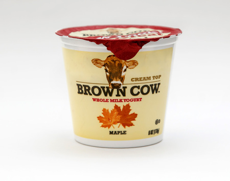 New York, January 23, 2017: Single container cup of Brown Cow maple flavor yogurt stand against white background. 에디토리얼