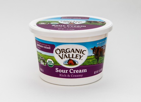 New York, January 5, 2017: A single tub of sour cream by Organic Valley is seen against white background. Banco de Imagens - 121806477