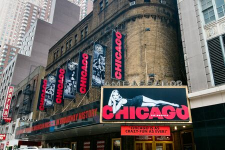 Exterior of the Ambassador theater with advertisement of the Chicago musical. Editorial