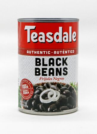 Can of Teasdale black beans against white background. Editorial