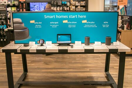 New York, 3/4/2019: Different Amazon Echo units are put on display at Amazon Books store in Manhattan. Imagens - 133574736