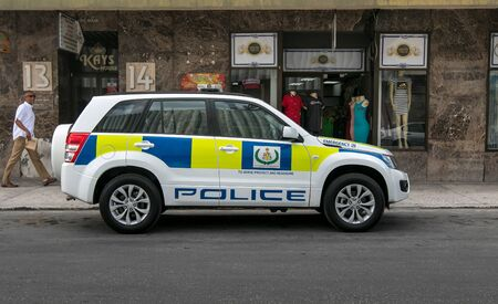 Barbados police vehicle in Bridgetown.