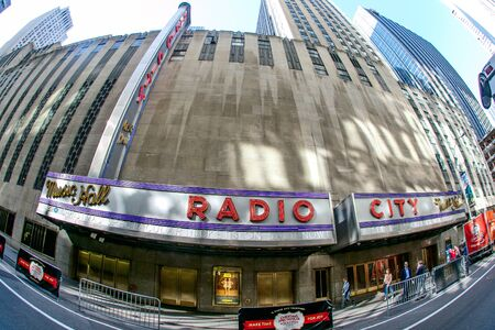 Radio City Music Hall in midtown NYC as seen through a fisheye lens.