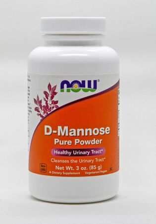 Bottle of D-Mannose, urinary tract cleanser, against white background.