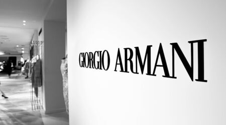 New York, 3/11/2019: Giorgio Armani brand signage at their section in Bloomingdale's department store in Manhattan. Imagens - 133574767