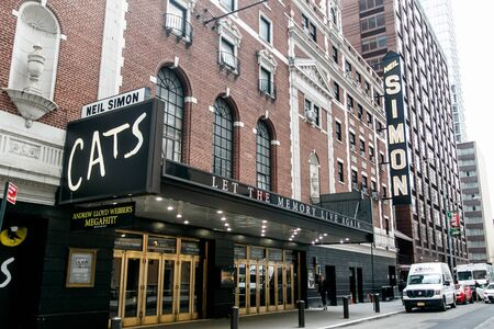 Entrance to the theater where the Cats musical is being staged. Editorial