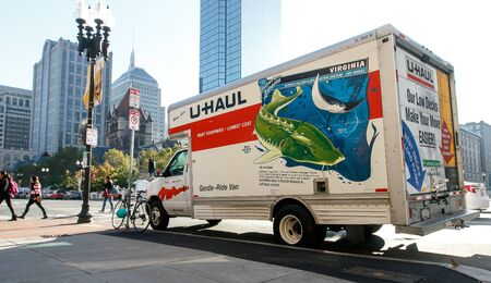 U-Haul truck parked in central Boston.