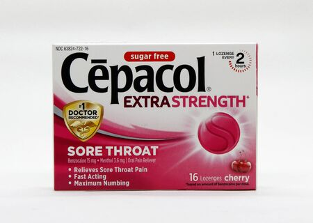 Pack of cherry flavored Cepacol against white background. Editorial