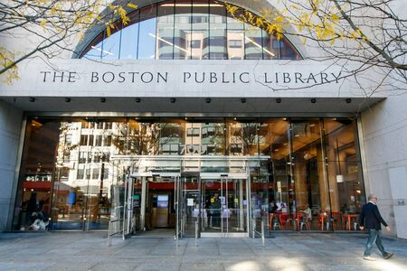 Front entrance to The Boston Public Library. Editorial