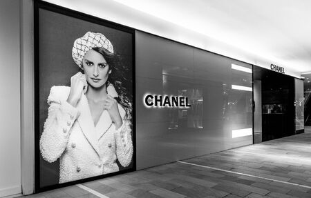 New York, 3112019: Chanel advertisement on one of the floors of Bloomingdales department store in Manhattan.