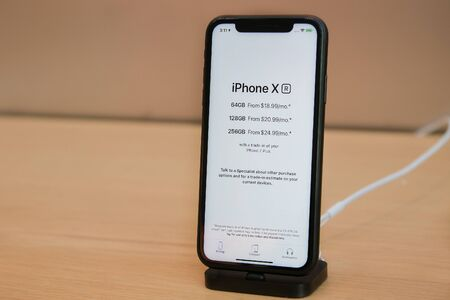 New York, 342019: iPhone X stands on display in an Apple store in Manhattan.