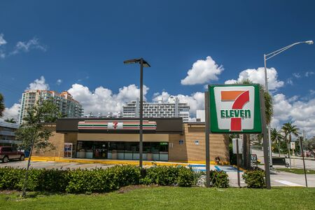 Fort Lauderdale, FL, 5172019: View of a Seven Eleven store.