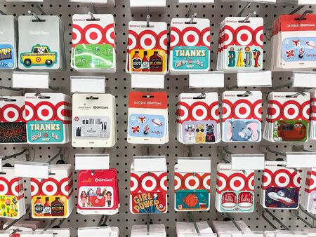 Bridgewater, NJ, 8/3/2019: Collection of Target gift cards hang for sale at the department store. 新闻类图片
