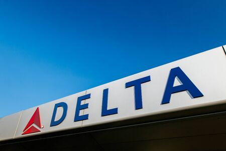 New York, August 19, 2017: Delta Airlines logo is attached to the front of the awning over the entrance to JFK's Terminal 4.
