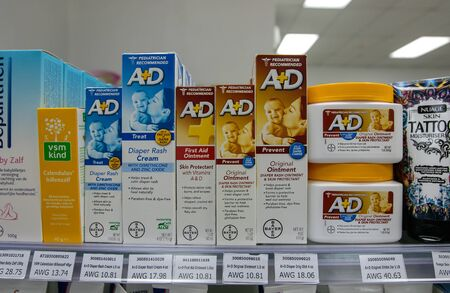 Aruba, 11/28/2019: Variety of A+D ointment packages is offered for sale at a drug store.
