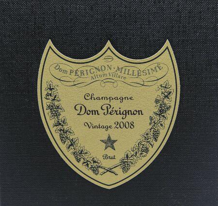 New York, 12/8/2019: Closeup view of Dom Perignon Vintage 2008 champagne box label. 新闻类图片