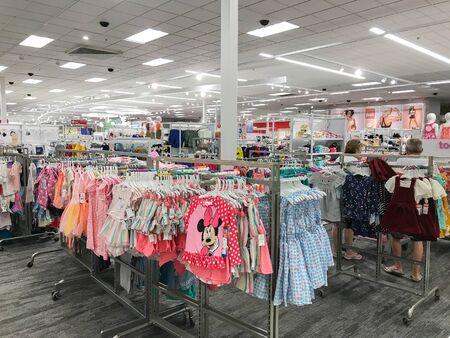 Bridgewater, NJ, 8/3/2019: People are shopping in girls section of a Target department store. Editorial