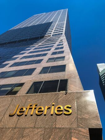 New York, 09/27/2019: Skyward view of the building where the headquarters of Jefferies is located. Editorial