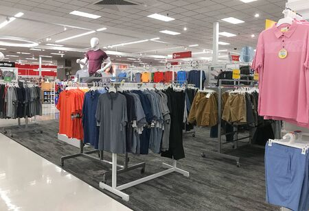 Bridgewater, NJ, 8/3/2019: Summer clothing is put for sale at Target department store.