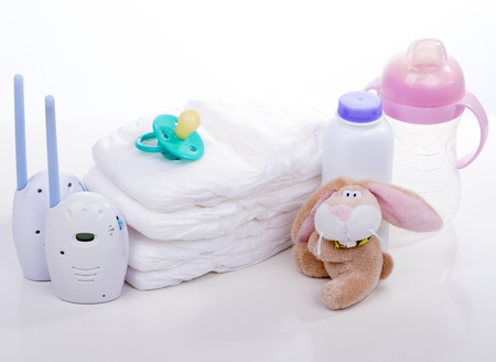 pampers: baby monitor, diapers. pacifier nipple. Toy hare banny , bottle - safety and care of the baby