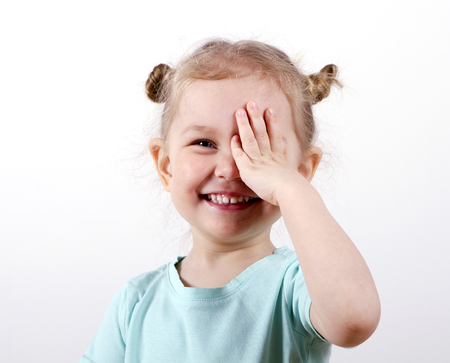 Kid Testing Vision Stock Photo