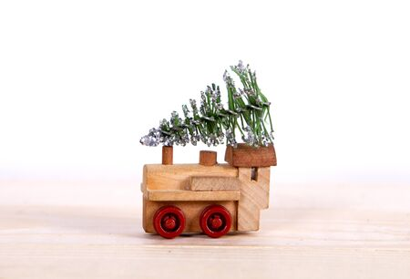 train driven by the Christmas tree for the New Year