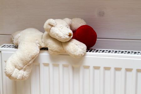 Heating radiator with teddy bear indoors