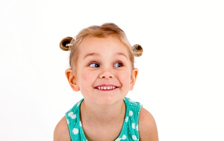 cunning eyes a little child Stock Photo