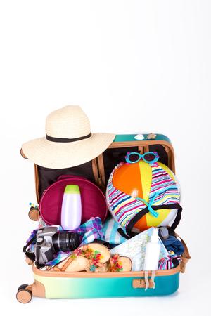 Preparation travel suitcase Stock Photo