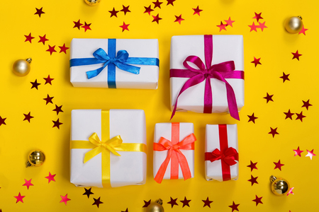 h beautiful gift boxes on white background Stock Photo