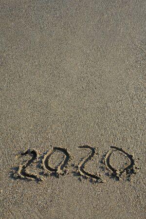 New year 2020 on sandy beach . 스톡 콘텐츠