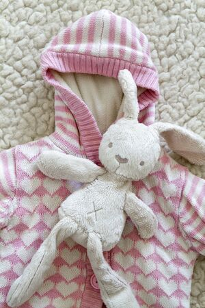 A top view of a children's sweater and a toy teddy rabbit on a soft wool background. concept of washing children's things and allergies
