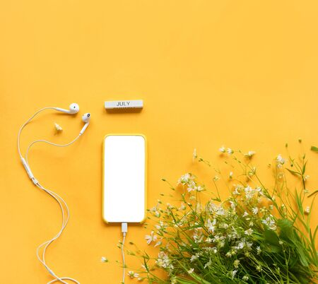 summer or spring relaxation, music of nature.. Top view on mock up phone with headphones, white screen