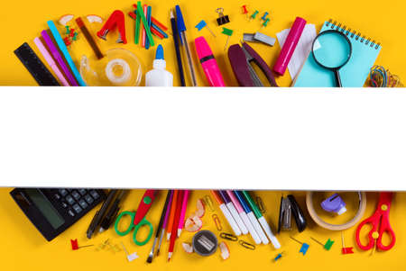 School supplies double border on yellow background