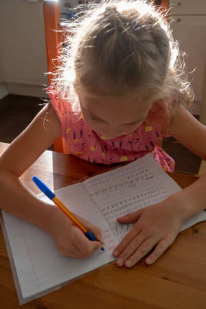 little first-grader girl does homework after school at home, she writes letters in a copybook