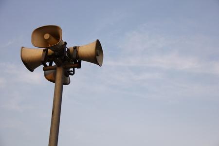 loudspeaker against bluesky Stock Photo