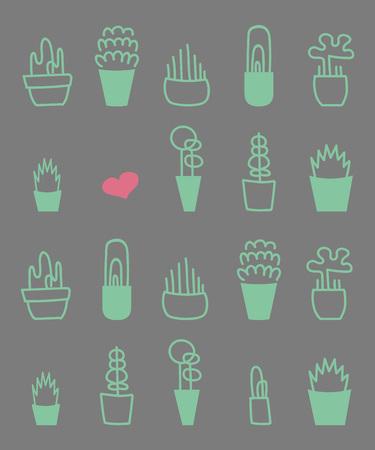 Potted plants pattern. Ilustração