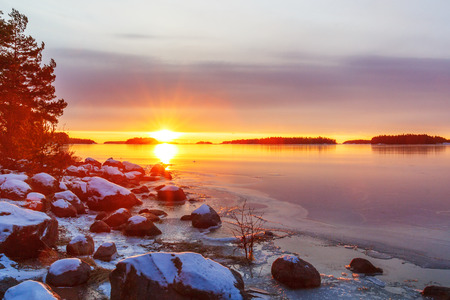 Sunrise on the peninsula of Keilalahti in Helsinki, Finland
