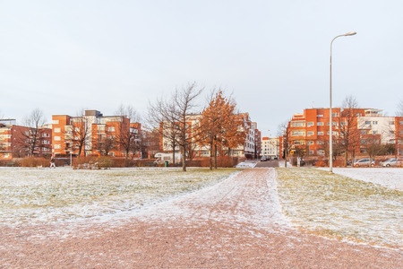 winter finland: Apartment buildings by the sea in Helsinki, Finland
