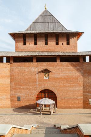 tent city: Zachatievskaya Tower in the Nizhny Novgorod Kremlin Stock Photo