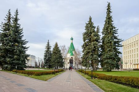 Alley to the monument to the founders of Nizhny Novgorod and the Cathedral of Michael the Archangel in the Nizhny Novgorod Kremlin Stock Photo