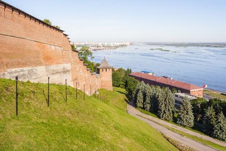 View of the Nizhegorododsky Kremlin, Borisoglebskaya Tower and the Volga River in Nizhny Novgorod in the summer Stock Photo