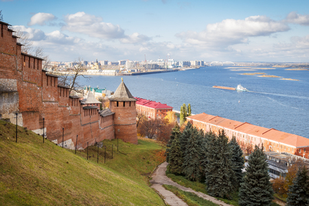 View of Strelka and Borisoglebskaya tower of the Kremlin in Nizhny Novgorod in the autumn
