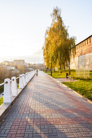 congress center: Kremlin Boulevard with shadows on paving stones in Nizhny Novgorod