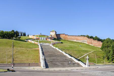 Summer view of the Chkalovskaya staircase and the Kremlin in Nizhny Novgorod