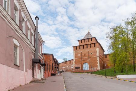 The Ivansky Congress and the Ivanovo Kremlin Tower in Nizhny Novgorod in the spring