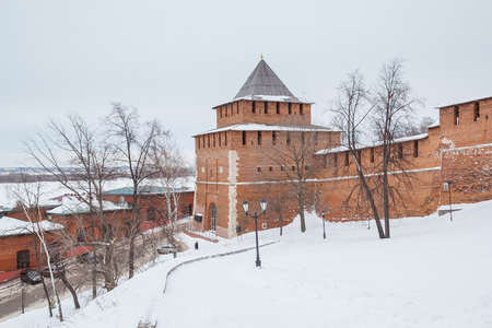 congress center: Ivanovskaya Tower of Nizhny Novgorod Kremlin at winter