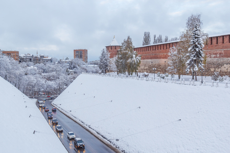 Winter view of the Kremlin tower Koromyslov and Zelenskiy Congress in Nizhny Novgorod
